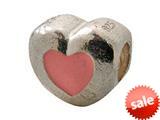Zable™ Sterling Silver Pink Enamel Heart Bead / Charm style: BZ0913