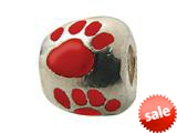 Zable™ Sterling Silver Red Enamel Paw Print Bead / Charm style: BZ0973