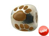Zable™ Sterling Silver Brown Enamel Paw Print Bead / Charm