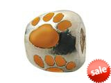 Zable™ Sterling Silver Orange Enamel Paw Print Bead / Charm