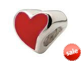 Zable™ Sterling Silver Large Red Enamel Heart Bead / Charm style: BZ0979