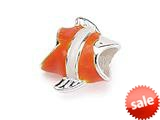 Zable™ Sterling Silver Clown Fish, Enameled Bead / Charm