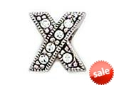 "Zable™ Sterling Silver C.Z. ""X"" Bead / Charm style: BZ1004"