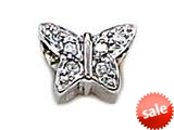 Zable™ Sterling Silver C.Z. Butterfly, Pointy Bead / Charm style: BZ1008
