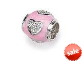 Zable™ Sterling Silver Pink Enamel with CZ Heart Bead / Charm style: BZ1019