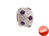Zable™ Sterling Silver February Crystal Ball Non-oxidized Bead / Charm