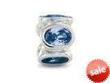 Zable™ Sterling Silver Bezel Set Ovals March Pandora Compatible Bead / Charm