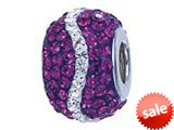 Zable™ Sterling Silver Purple and White Wave Bead / Charm style: BZ1150
