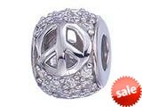 Zable™ Sterling Silver Peace Signs With CZ Bead / Charm style: BZ1159