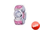 Zable™ Sterling Silver Pink and White CZ`s Pandora Compatible Bead / Charm style: BZ1162