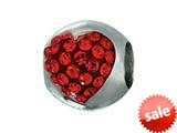 Zable™ Sterling Silver Heart with Red Crystals Pandora Compatible Bead / Charm