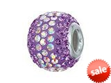 Zable™ Sterling Silver 2-tone Purple Pandora Compatible Bead / Charm