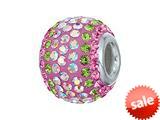 Zable™ Sterling Silver 2-tone Pink/peridot Pandora Compatible Bead / Charm style: BZ1226