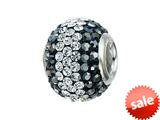 Zable™ Sterling Silver Hematite/white Crystals Pandora Compatible Bead / Charm style: BZ1232