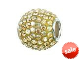 Zable™ Sterling Silver Pave Crystal Ball Golden Shadow Pandora Compatible Bead / Charm