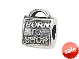 "Zable™ Sterling Silver ""Born To Shop"" Bead / Charm style: BZ1415"