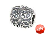 Zable™ Sterling Silver Peace Sign Pandora Compatible Bead / Charm style: BZ1424