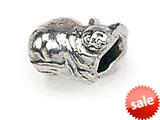 Zable™ Sterling Silver Cat Sitting Bead / Charm