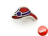 Zable™ Sterling Silver Red Hat-Enamel Pandora Compatible Bead / Charm