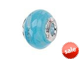 Zable™ Sterling Silver Filigrana Swirl Light Blue Murano Glass Bead / Charm