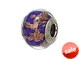 Zable™ Sterling Silver Blue with Copper Glitter Murano Glass Bead / Charm style: BZ1525