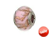 Zable™ Sterling Silver Pink with Copper Glitter Murano Glass Bead / Charm