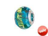 Zable™ Sterling Silver Blue with Gold/Copper Glitter Murano Glass Pandora Compatible Bead / Charm style: BZ1531