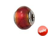 Zable™ Sterling Silver Red/Gold Foil Murano Glass Bead / Charm