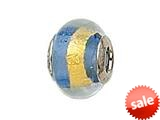 Zable™ Sterling Silver Blue with Gold Stripe Murano Glass Bead / Charm