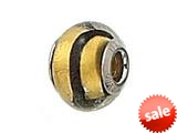 Zable™ Sterling Silver Gold with Black Strip Murano Glass Bead / Charm
