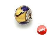 Zable™ Sterling Silver Gold with Blue Spot Murano Glass Pandora Compatible Bead / Charm style: BZ1536