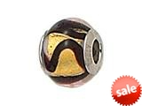 Zable™ Sterling Silver Gold/Carmel/Black Swirls Bead / Charm