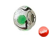 Zable™ Sterling Silver Silver with Green Spot Murano Glass Bead / Charm style: BZ1538