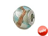 Zable™ Sterling Silver Silver Blue/Copper Zigza Murano Glass Bead / Charm
