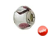 Zable™ Sterling Silver Silver with Purple Spot Murano Glass Bead / Charm