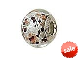 Zable™ Sterling Silver Silver with Black/Copper Murano Glass Bead / Charm