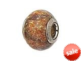 Zable™ Sterling Silver Gold Copper with Black Swirl Murano Glass Bead / Charm