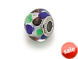 Zable™ Sterling Silver Slver with Multicolor Dot Murano Glass Bead / Charm