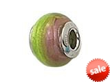 Zable™ Sterling Silver Pink/Green Murano Glass Bead / Charm