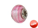 Zable™ Sterling Silver Pink Striped Murano Glass Bead / Charm