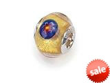 Zable™ Sterling Silver Gold Mosaic Flowers Murano Glass Bead / Charm
