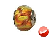 Zable™ Sterling Silver Murano Glass-Gold/Brown Bead / Charm