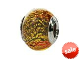 Zable™ Sterling Silver Murano Glass-Red/Gold Fl Bead / Charm