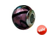 Zable™ Sterling Silver Murano Glass-Purple Carm Bead / Charm