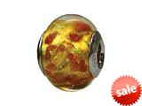 Zable™ Sterling Silver Murano-Gold Copper Glitt Murano Glass Bead / Charm