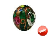Zable™ Sterling Silver Murano-Green Fiorato Murano Glass Bead / Charm