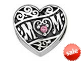 Zable™ Sterling Silver Mom Heart With Crystals Bead / Charm style: BZ1648