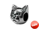 Zable™ Sterling Silver Cat Face 2-Sided Bead / Charm