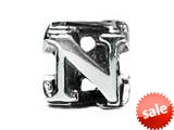 "Zable™ Sterling Silver Open Initial ""N"" Pandora Compatible Bead / Charm style: BZ1814"