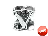 "Zable™ Sterling Silver Open Initial ""V"" Bead / Charm style: BZ1822"